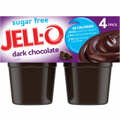 Jell-O Sugar Free Dark Chocolate Flavor Pudding Snacks Perspective: front