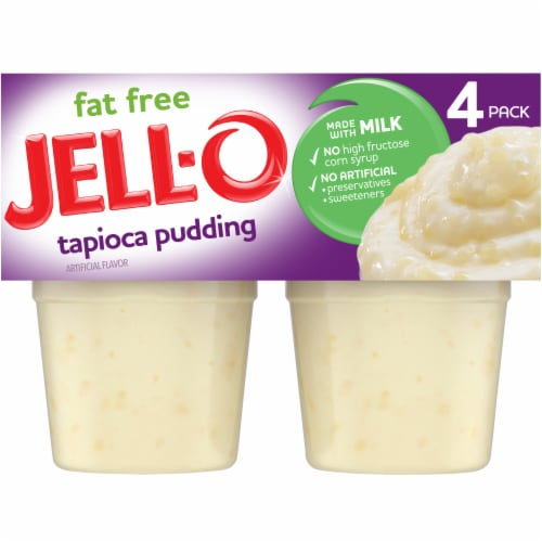 Jell-O Ready-to-Eat Fat Free Tapioca Pudding Snacks Perspective: front