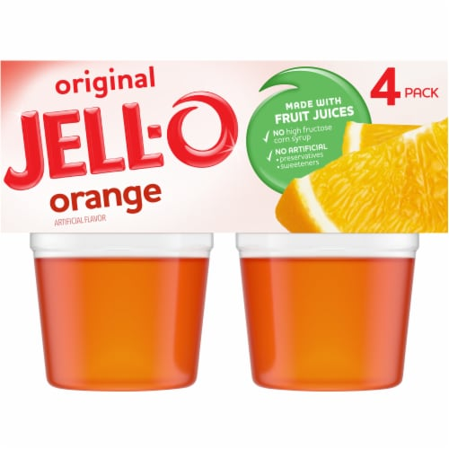 Jell-O Ready-to-Eat Orange Gelatin Snacks Perspective: front
