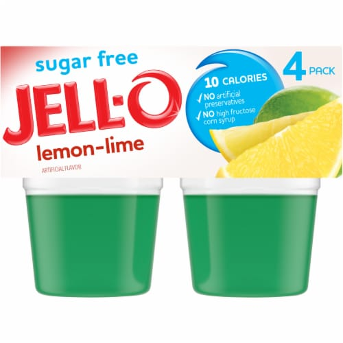 Jell-O Sugar Free Lemon-Lime Gelatin Snacks - 4 Count Perspective: front