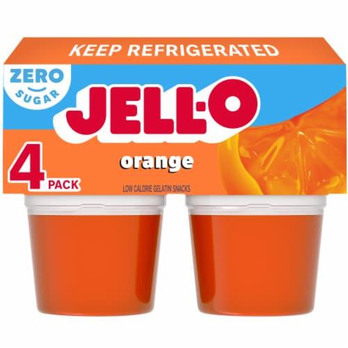 Jell-O Sugar Free Orange Gelatin Snacks Perspective: front