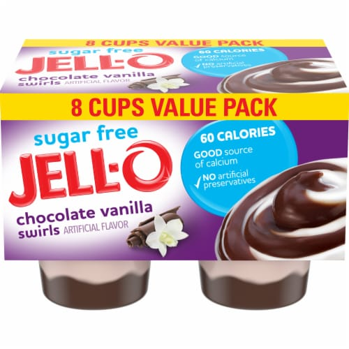 Jell-O Chocolate Vanilla Swirls Reduced Calorie Pudding Snacks Perspective: front