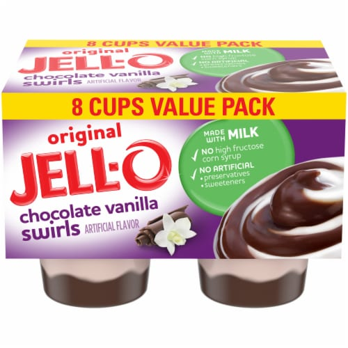 Jell-O Chocolate Vanilla Swirls Pudding Snacks Value Pack Perspective: front