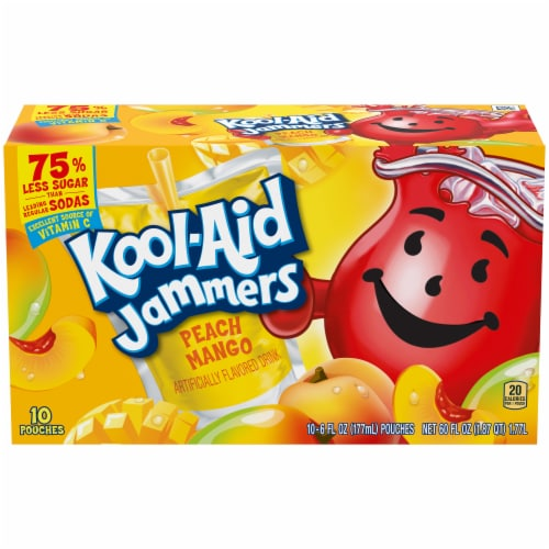 Kool-Aid Jammers Peach Mango Drink Pouches Perspective: front