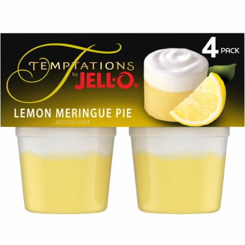 Jell-O Temptations Lemon Meringue Pie Pudding Snack Cups Perspective: front
