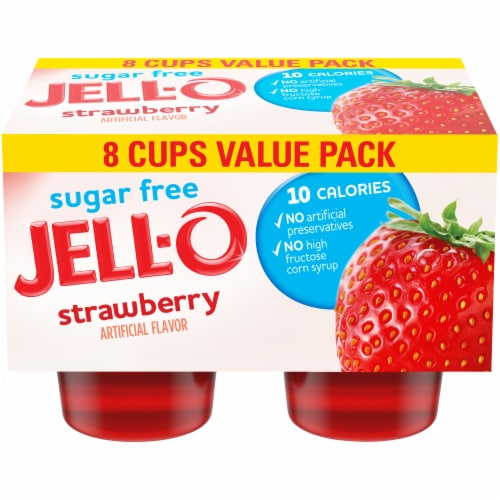 Jell-O Sugar Free Strawberry Low Calorie Gelatin Snacks Perspective: front