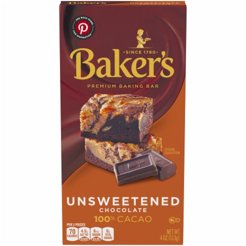 Baker S Unsweetened Chocolate Premium Baking Bar 4 Oz Baker S