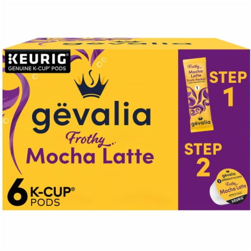Gevalia Mocha Latte Espresso Coffee K-Cup Pods & Froth Packets Perspective: front
