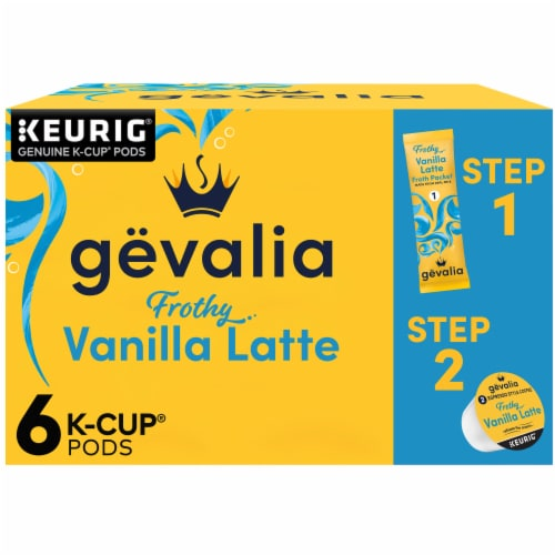 Gevalia Vanilla Latte Espresso Coffee K-Cup Pods & Froth Packets Perspective: front