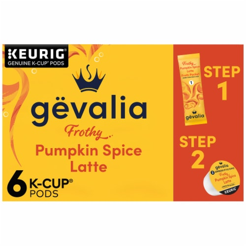 Gevalia Pumpkin Spice Latte Espresso Coffee K-Cup Pods & Froth Packets Perspective: front