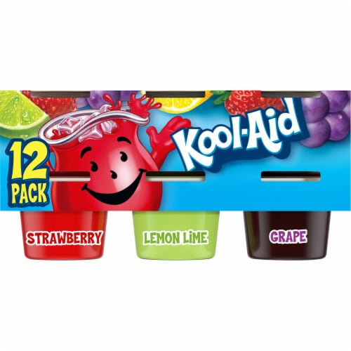 Kool-Aid Strawberry Lemon Lime and Grape Ready To Eat Gelatin Snacks Perspective: front