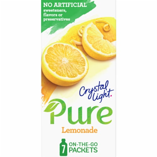 Crystal Light Pure Lemonade On-The-Go Drink Mix Packets Perspective: front
