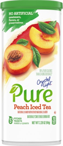 Crystal Light Pure Peach Iced Tea Drink Mix Perspective: front