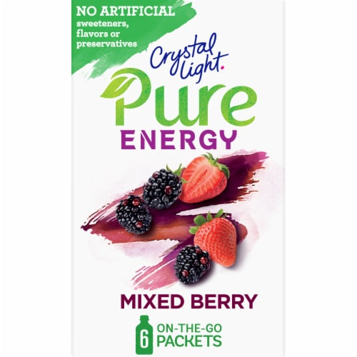 Crystal Light Pure Energy Mixed Berry Drink Mix Packets with Caffeine and B Vitamins Perspective: front
