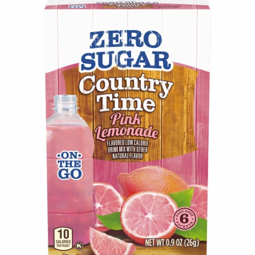 Country Time On-The-Go Zero Sugar Pink Lemonade Flavored Drink Mix Packets Perspective: front