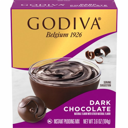 Godiva Dark Chocolate Instant Pudding Mix Perspective: front