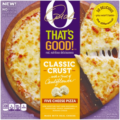 O That's Good Five Cheese Pizza Perspective: front
