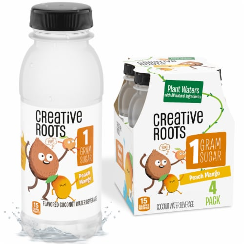 Creative Roots Peach Mango Flavored Coconut Water Kids Beverage Perspective: front