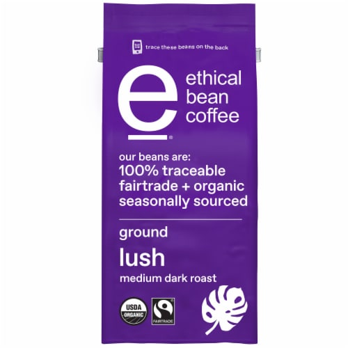 Ethical Bean Coffee Lush Medium Dark Roast Organic Ground Coffee Perspective: front