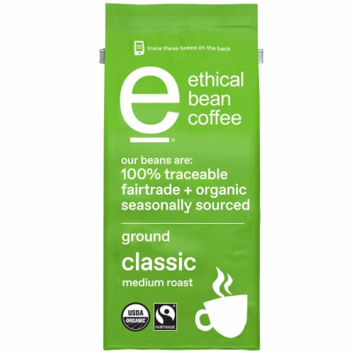 Ethical Bean Coffee Classic Medium Roast Organic Ground Coffee Perspective: front