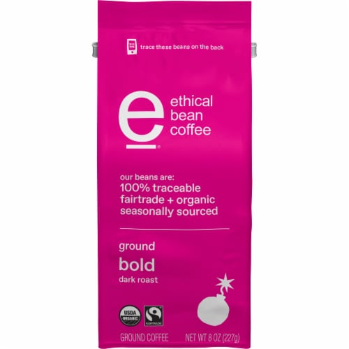 Ethical Bean Coffee Organic Bold Dark Roast Ground Coffee Perspective: front