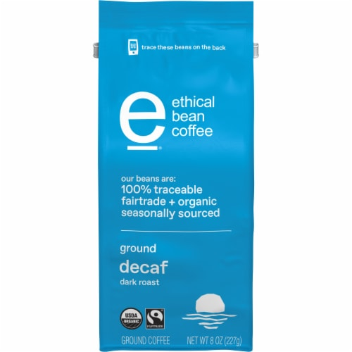 Ethical Bean Coffee Organic Decaf Dark Roast Ground Coffee Perspective: front