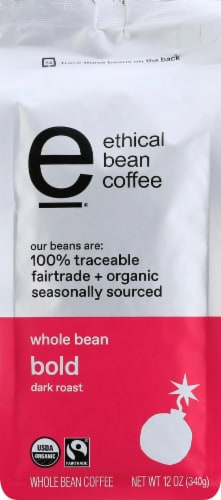 Ethical Bean Bold Dark Roast Fairtrade Organic Whole Bean Coffee Perspective: front