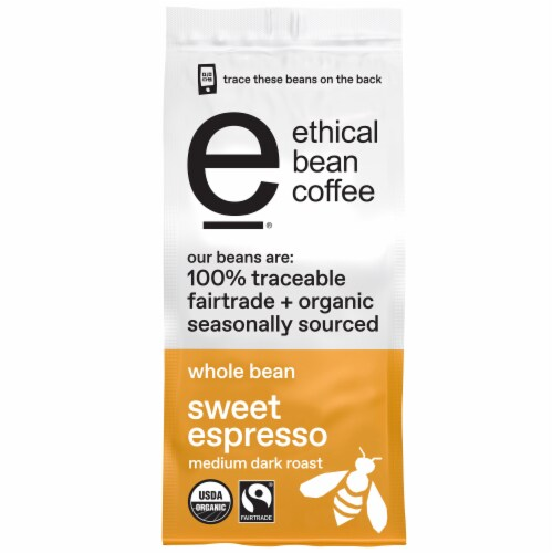 Ethical Bean Coffee Sweet Espresso Medium Dark Roast Organic Whole Bean Coffee Perspective: front