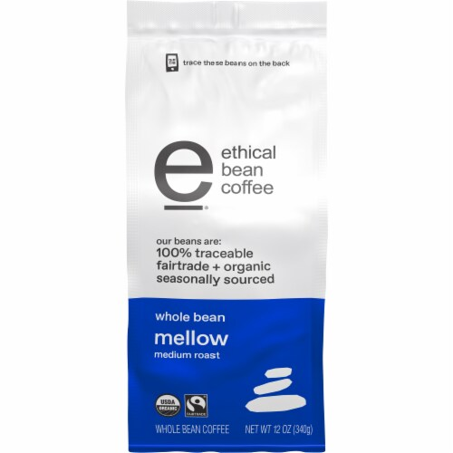 Ethical Bean Coffee Organic Mellow Medium Roast Whole Bean Coffee Perspective: front