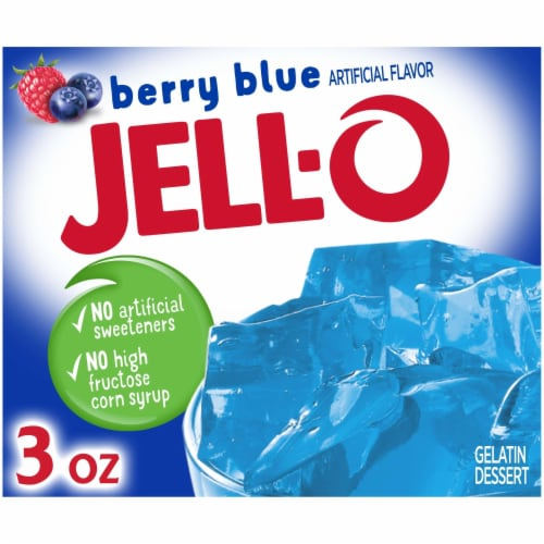Jell-O Berry Blue Gelatin Dessert Mix Perspective: front