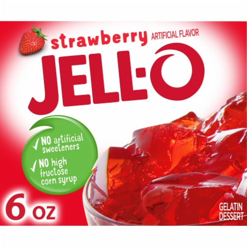 Jell-O Strawberry Gelatin Dessert Mix Perspective: front