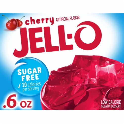 Jell-O Sugar Free Low Calorie Cherry Gelatin Dessert Perspective: front