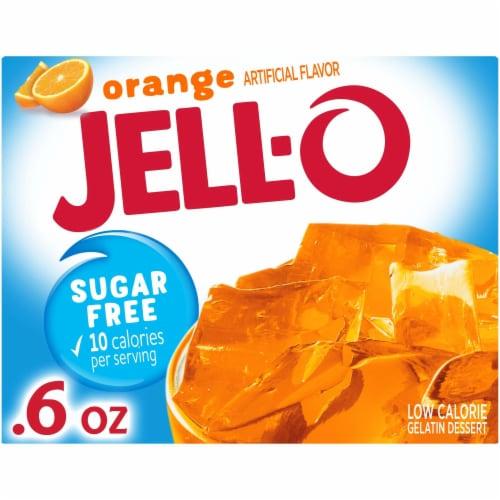 Jell-O Sugar Free Orange Gelatin Dessert Mix Perspective: front
