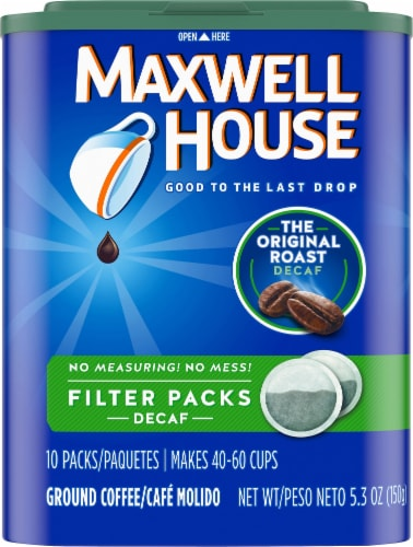 Maxwell House Decaf Original Roast Ground Coffee Filter Packs Perspective: front