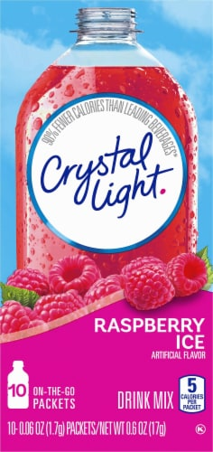 Crystal Light Raspberry Ice On-The-Go Drink Mix Packets Perspective: front