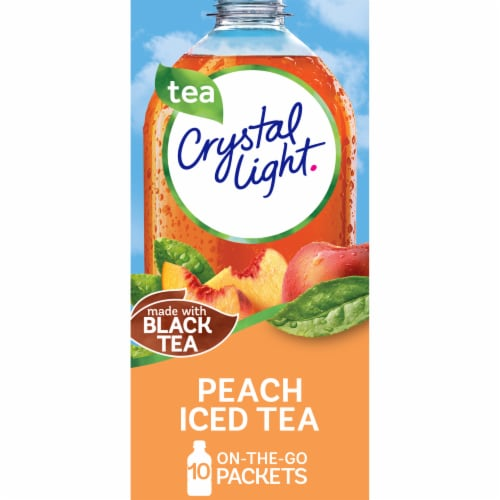Crystal Light On-The-Go Peach Iced Tea Drink Mix Packets Perspective: front