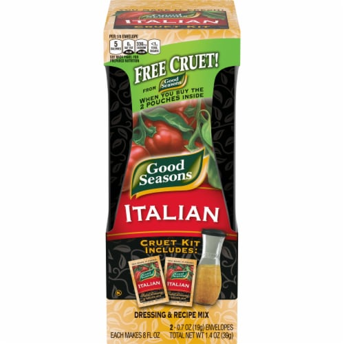 Good Seasons Italian Salad Dressing & Recipe Mix Packets with Cruet 2 Count Perspective: front