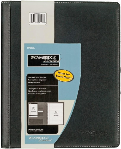 Mead® Cambridge Limited College Ruled Notetaker Notebook - Black Perspective: front