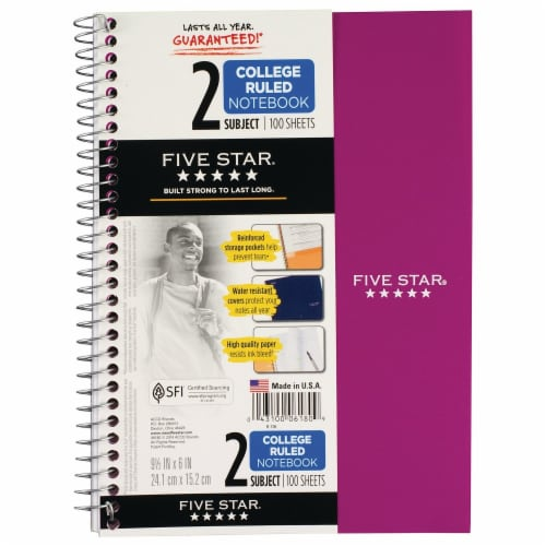 Five Star® College-Ruled 2-Subject Notebook - Assorted Perspective: front