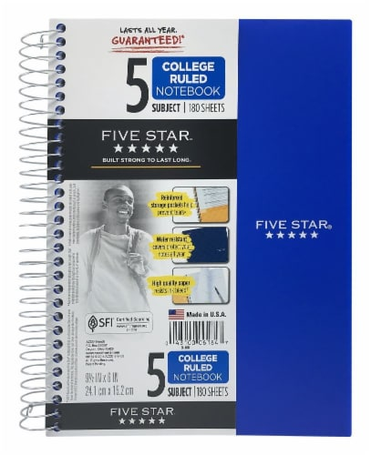 Five Star® College-Ruled 5-Subject Notebook Perspective: front