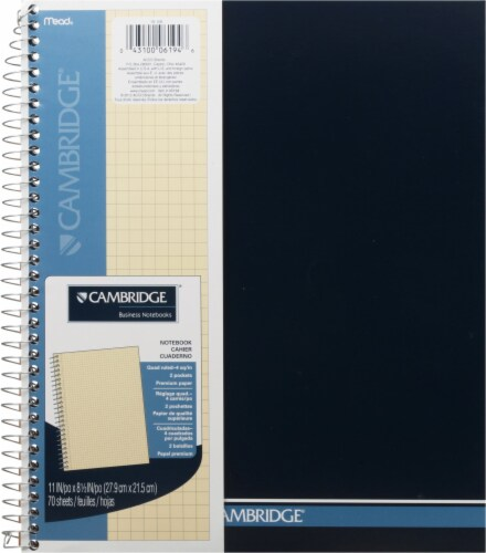 Cambridge® Quad Ruled Spiral Bound Notebook - 8.5 x 11 Inch - 70 Sheets Perspective: front