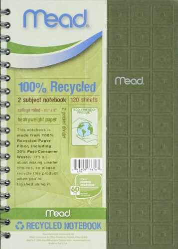 Mead® 100% Recycled 9.5x6 Notebook Perspective: front