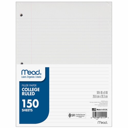 Mead® College Ruled Filler Paper - 150 Sheets Perspective: front