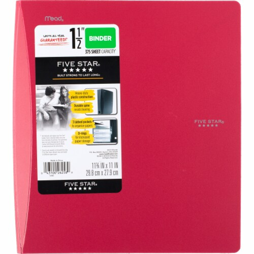 Five Star® D-Ring Binder - Red Perspective: front