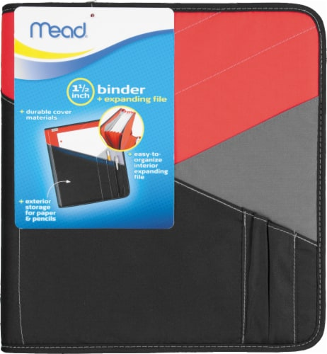 Mead® Binder with Expanding File - Red/Black Perspective: front