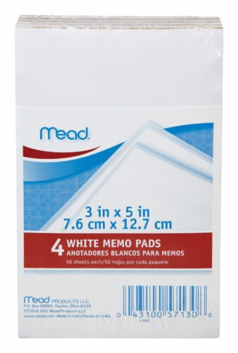 Mead 3 in. W x 5 in. L Memo Pad 50 - Case Of: 12; Each Pack Qty: 50; Total Items Qty: 600 Perspective: front