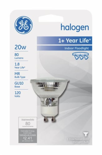 GE Edison 20 watts MR16 Halogen Bulb 80 lumens White 1 pk Floodlight - Case Of: 1; Each Pack Perspective: front