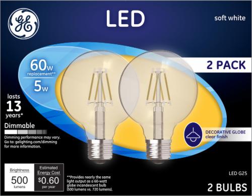 GE 5-Watt (60-Watt) Medium Base G25 Decorative Globe LED Light Bulbs Perspective: front