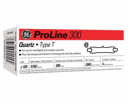 GE ProLine 300 watt T2.5 Double-Ended Halogen Light Bulb 5,760 lumens White 6 pk - Case Of: Perspective: front