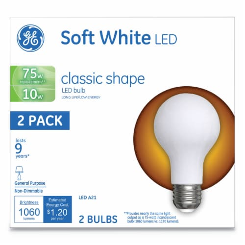 Classic LED Soft White Non-Dim A21 10 W 2 Per Pack   1 Pack of: 2 Perspective: front